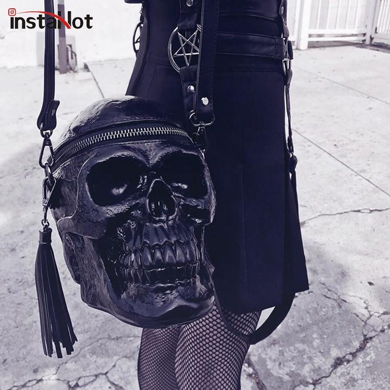 InstaHot Skulls Shoulder Bag Solid Gothic High Street Retro Leather Hand Bags Tassel Female Chic Punk 3D Skulls Novelty Bag