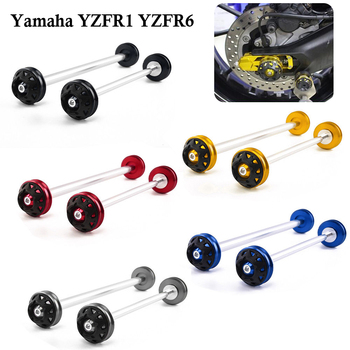 Front & Rear Motorcycle Wheel Axle Fork Sliders Cap Crash Protector for Yamaha YZF R1 R6 YZF-R1 YZFR6 2004-2016 2013 2014 2015 yzf r1 motorcycle for yamaha yzfr6 1999 2017 r6s 2003 2008 yzf r1 1998 2014 aluminum motorcycle front footrests foot pegs