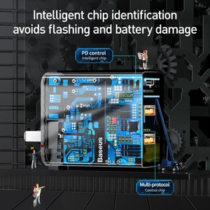 """Image 4 - Baseus 60W Usb מטען USB סוג C מהיר מטען להקה כפולה Usb חריץ בארה""""ב מתאם טלפון טעינה נסיעות מטען קיר עם 1M"""