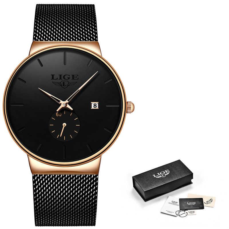 LIGEแฟชั่นนาฬิกาCasual Waterproofนาฬิกาควอตซ์Luxury Ultra-Thinวันที่กีฬานาฬิกาRelogio Masculino
