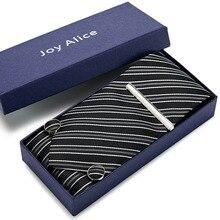 Necktie set neck tie stripe tie gift Wedding Striped 8cm 100% Silk Jacquard Woven Handkerchief Tie clip Cuffink Tie Set Gift Box
