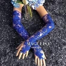 جديد الأزرق الملكي 50 سنتيمتر الدانتيل مساء حفلة السعر سيدة وصيفه الشرف طويل أصابع قفازات الزفاف شحن مجاني