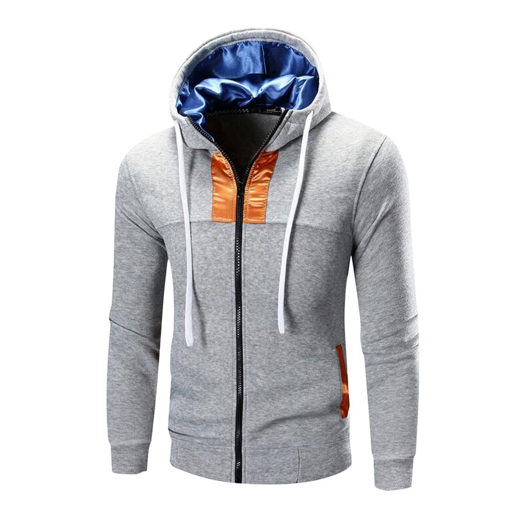 Men Autumn hoodies Long Sleeve Patchwork Hoodie Hooded Sweatshirt Top Tee Outwear Blouse sweatshirt sudadera hombre streetwear