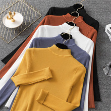 Black White Pink Yellow Blue Womens Turtleneck Sweater 2019 Autumn Winter Warm Slim Long Sleeve Basic Knitted Pullover Jumper