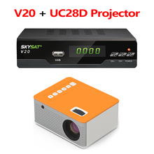 SKYSAT proyector Digital V20 con UC28D, recibidor satélite compatible con H.265, HEVC, CS, Powervu, Biss, WiFi, decodificador de señal 3G
