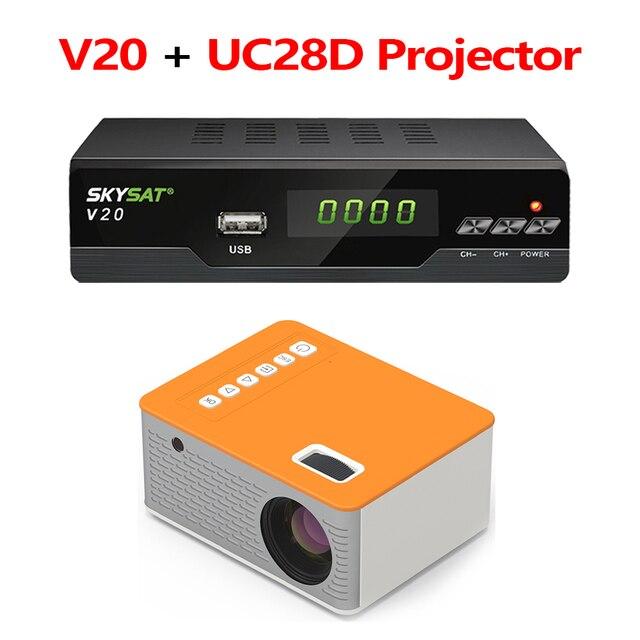 V20 עם UC28D מקרן SKYSAT V20 HD דיגיטלי לווין מקלט תמיכת H.265 HEVC CS Powervu ביס WiFi 3G סט תיבה עליונה