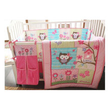 Ups Free 100% Cotton 7 Pieces Owls Baby Girl Bedding Set Pink Embroidery Quilt Nursery Cot Crib Bedding(China)