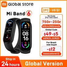 Global Version Xiaomi Mi Band 6 Smart Bracelet Screen Blood Oxygen Fitness Traker Heart Rate Bluetooth Waterproof Smart band 6