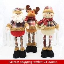 47 см Санта-Клаус Снеговик Рождественские куклы Рождественские украшения для дома выдвижные стоячие игрушки для вечеринки в честь Дня Рождения подарок для детей