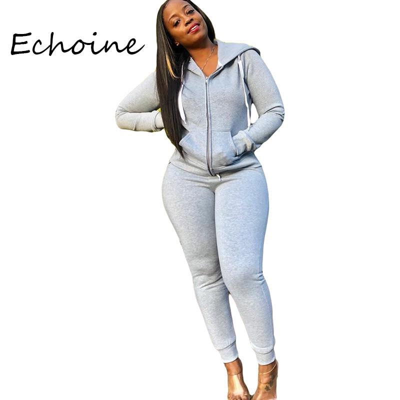 2019 Autumn Suit Tracksuit Solid Color Sportwear Long Sleeve Hooded Zipper Two Pieces Set Coat +Long Pants Outfit