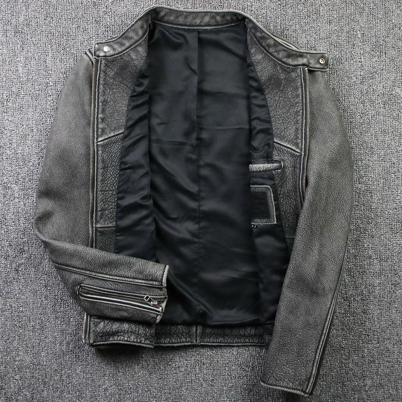 Hea6062da504849079eb6202cdecd210a1 Tcyeek Winter Autumn Genuine Leather Jacket Men Streetweaar Real Sheepskin Coat Man Moto Biker Vintage Cow Leather Jackets 805