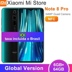 [taxa incluida o Brasil] Versão global xiaomi redmi nota 8 pro 6gb 64gb telefone móvel 6.53