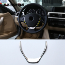 For BMW 3 Series F30 2013-2015 Steering Wheel ABS Chrome Carbon Fiber Sequins Strips Cover Interior Decoration Trim Car Styling fit for citroen c5 aircross interior steering wheel moulding sequins abs chrome decoration cover 2pcs