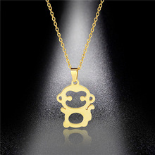 Stainless steel small monkey necklace personality hypoallergenic cute monkey clavicle chain fashion wild student simple jewelry stainless steel hollow egyptian head necklace women jewelry personality portrait accessories ladies clavicle chain necklace
