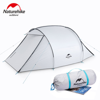 NatureHike tent for 3 person camping lawn park tents with silver coating anti UV waterproof tent fly breathable mesh inner tent