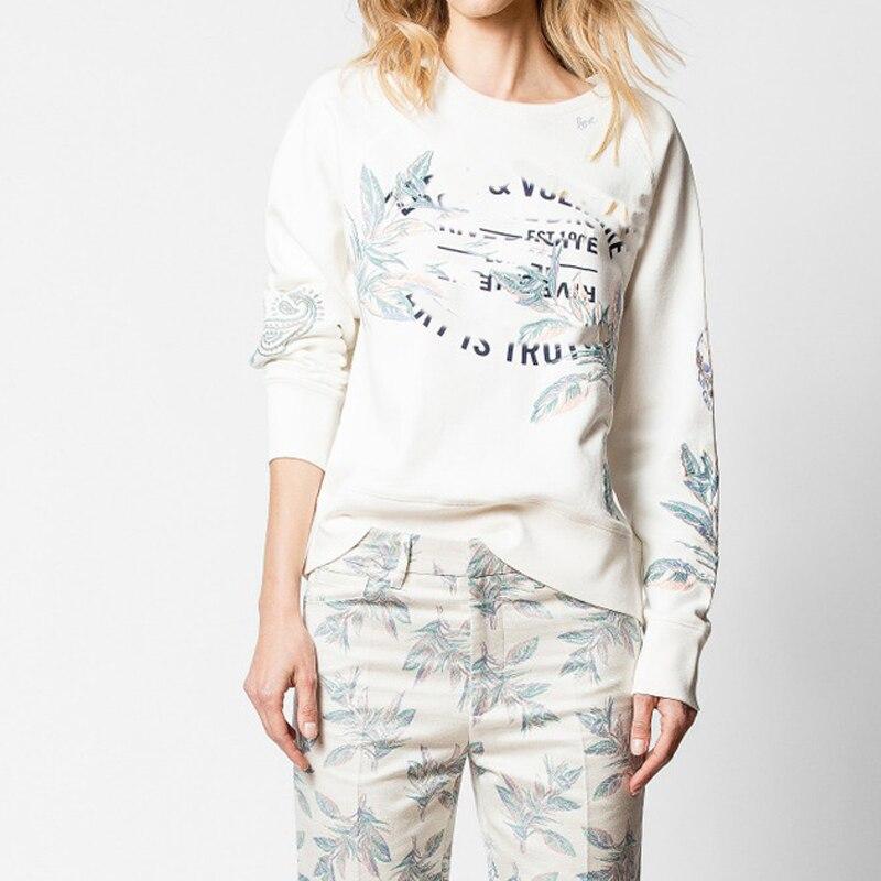 Vrouwen Hoodie 2019 Fall Winter Geborduurde Brief Print Effen Kleur Sweatshirt-in Hoodies en sweaters van Dames Kleding op  Groep 1