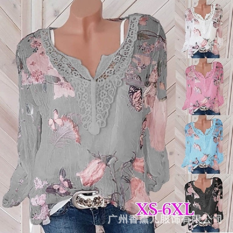 Large Size Lace Loose Women Blouses 2020 Summer Blouse Top Casual Fashion V-neck Long Sleeve Printed Women's Chiffon Shirt