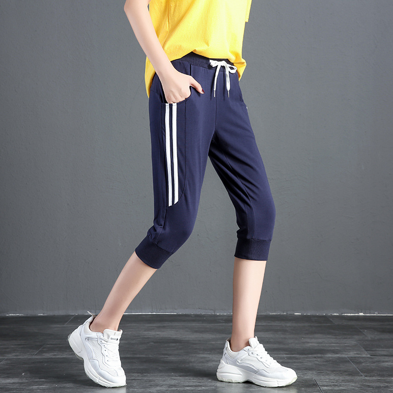 Sports Capri Pants Women's Summer 2019 New Style Korean-style Casual Breeches Loose Harem Pants Running Fitness Thin Shorts
