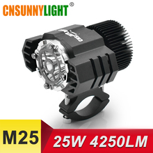 CNSUNNYLIGHT LED Motorcycle Headlight Spotlight 25W 4250Lm Super Bright White Moto Fog DRL Headlamp Hunting Driving Lights 6000K