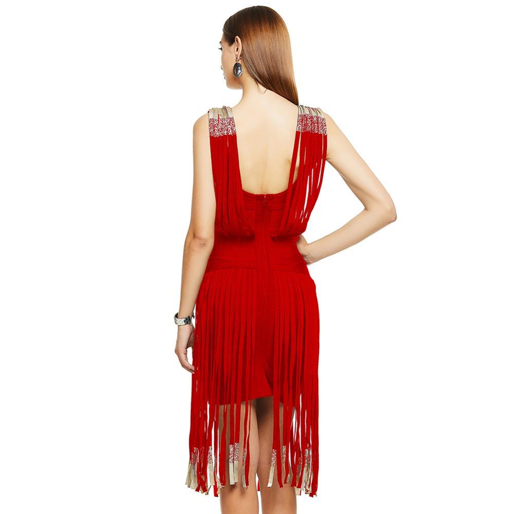 Vestito Dalla Fasciatura della nappa Sexy Delle Donne Banchetto Primavera Estate Nero Rosso Breve Frangia Taglio Basso Beach Party Flapper Cinghia - 4