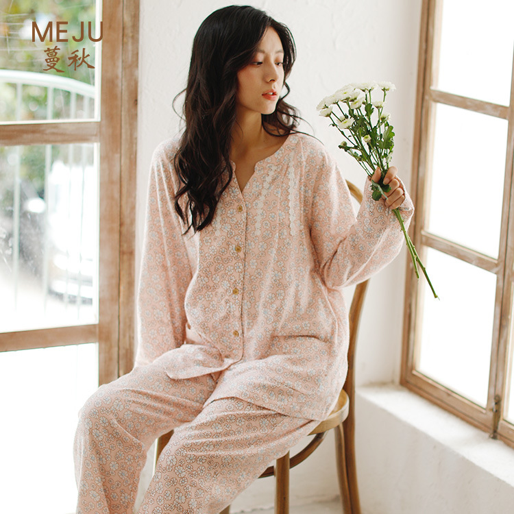 Meju Pajamas Women's Autumn And Winter Brushed Cotton Flannel Pajamas Japanese-style Simple Pure Cotton Tracksuit Loose-Fit