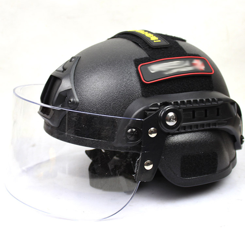 Airsoft Swat Helmet Combat Mich 2000 Helmet with Clear Visor Protective Goggles Outdoor Sports Skate Hunting
