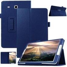 """Умный тонкий чехол с текстурой личи для samsung Galaxy Tab E 9,"""" T560 T561 планшет из искусственной кожи защитный чехол с откидной крышкой+ пленка+ ручка"""