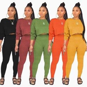 hirigin Solid Color Women Set Long Sleeve Sweatshirts Pencil Pants Suit Casual Two Piece Set Elegant Sporty Tracksuit Outfit