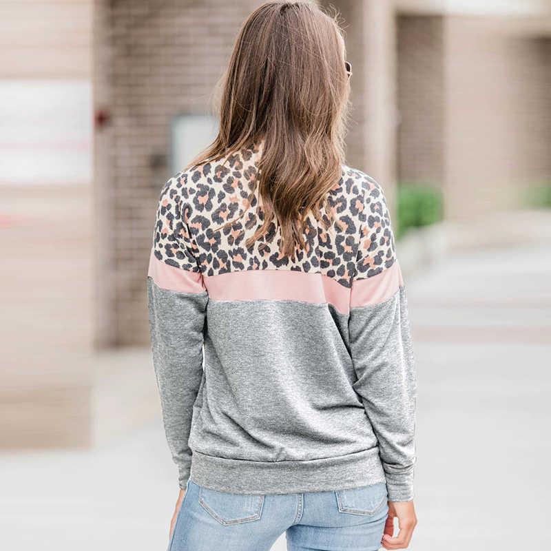 HUIHAIXIANGBAO Women Patchwork Leopard Camouflage Graphic Turtleneck Hoodies Pullover Hooded Sweatshirts Sweaters Tops