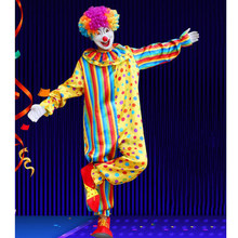 Neue Jahr Lustige Party Dressing Up Kostüm Spaß Clown Kostüm Afro Perücke Gestreiften Spotted Maskerade Party Joker Overall(China)