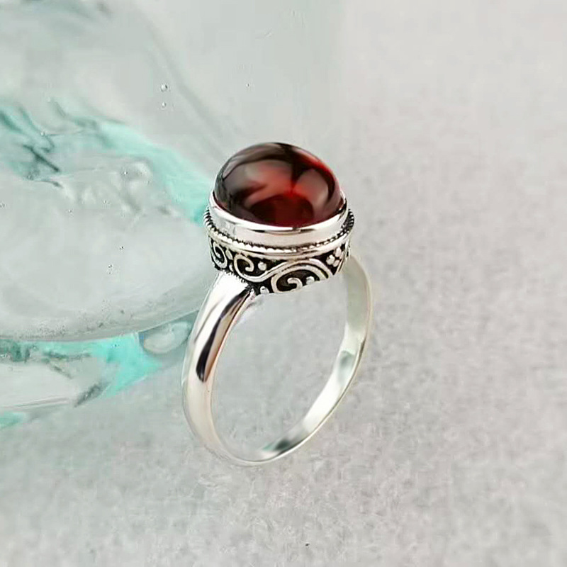 Solid 925 sterling Silver Red Garnet Gemstone ring Jewellery for girls /& women love proposal promise engagement anniversary wedding Ring.