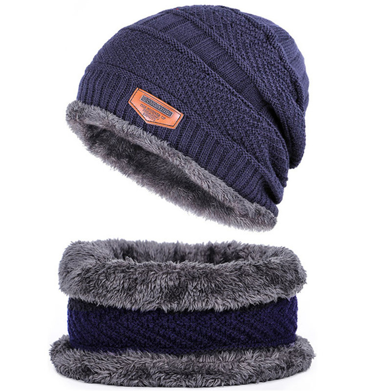 New Autumn Winter Knitted Men's Hats Outdoor Warm Loose Comfortable Caps Thickening Plus Velvet Hat Colar Bib Two-piece Beanies