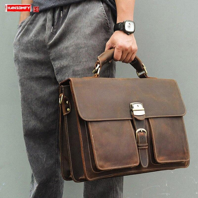 New Men's Handbag Crazy Horse Leather Business Men 15.6 Inch Laptop Briefcase Male Lock Documentary Computer Slung Shoulder Bags