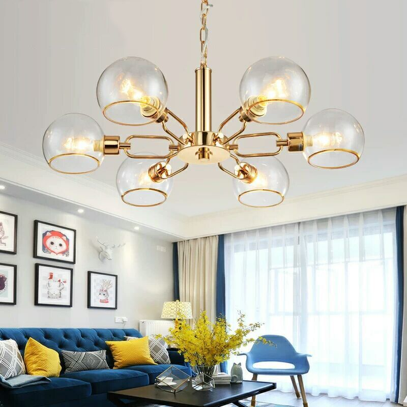 Deco Chambre Lustre Pendente Glass Ball  Home Decoration E27 Light Fixture Luminaire Suspendu Deco Chambre