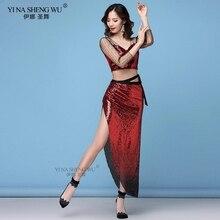 Новая модная женская одежда для танца живота, эластичная сетка, длинные рукава, блестки, шарф на бедрах, длинная юбка, костюм для женщин, набор для занятий танцами