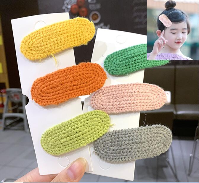 Cute Girls Kids Wool Knitted Braided Hairpins Hair Clips Barrettes Autumn Winter Solid Color Oval Hair Accessories New Headwear