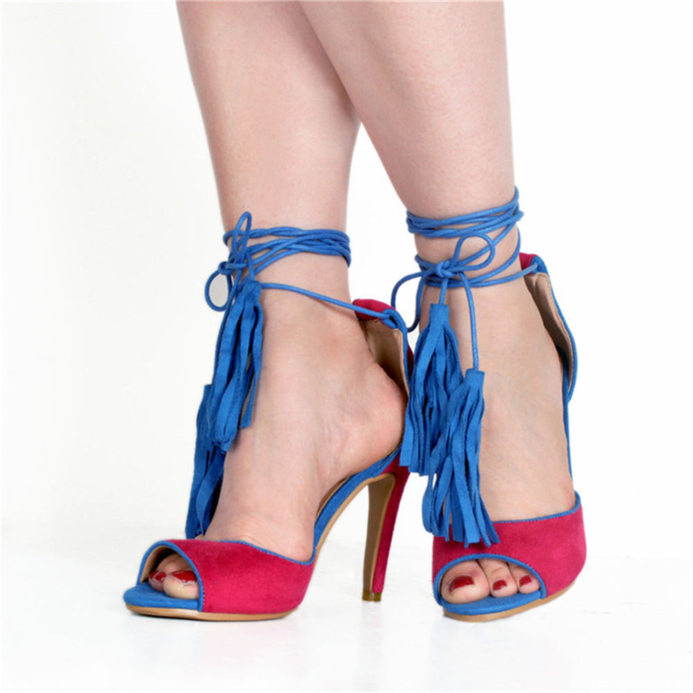 Women's brand Big size 47 shoelaces thin high heels ankle-wrap women shoes 2019 party sexy fringe summer sandals woman shoes