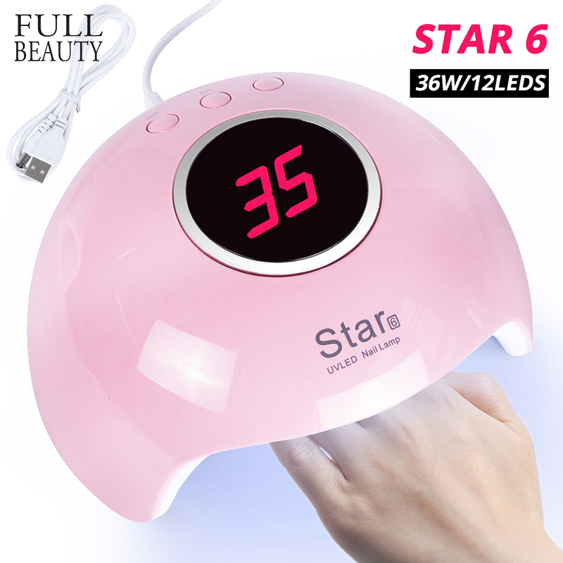 36W/45W/9W USB Lamp Nail Dryer Pink Portable Curing All Gels Varnish Mini LED UV Lamp For Manicure Auto Sensor Nail Tool CHStar6