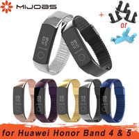 Mijobs ממילאנו מתכת רצועת עבור Huawei כבוד להקת 4 רצועת חכם אביזרי נירוסטה צמיד לכבוד להקת 5 צמיד