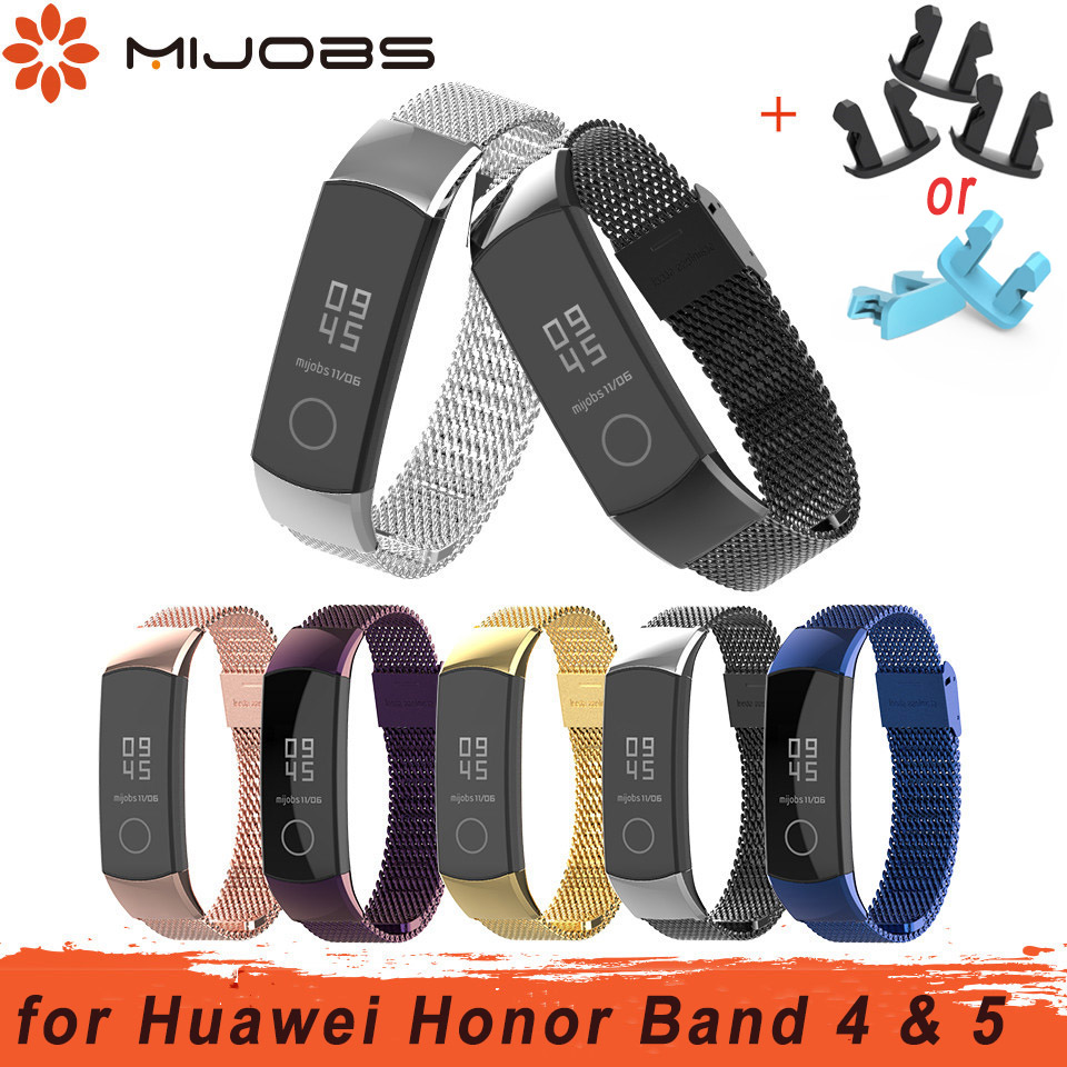 Mijobs Milanese Metal Strap for Huawei Honor Band 4 Strap Smart Accessories Stainless Steel Wristband for Honor Band 5 Bracelet-in Smart Accessories from Consumer Electronics