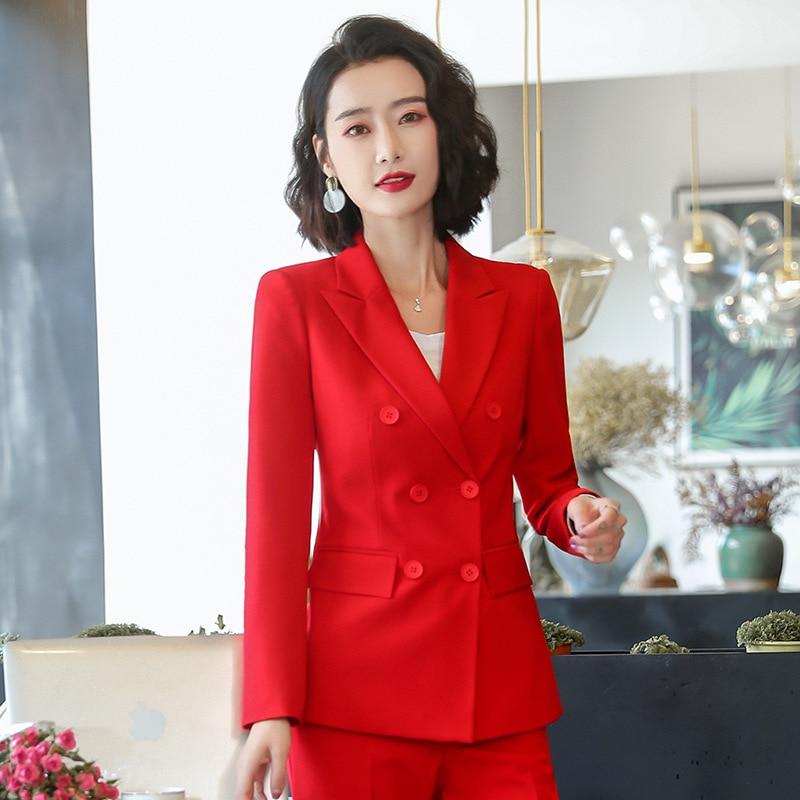 Female Elegant Business Uniform 2 Piece Pant Suits For Ladies Women's Business Office Work Wear Blazers Trouser Sets With Jacket