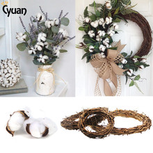 Farmhouse Decor DIY Cotton Wreath Artificial Kapok Head Naturally Dried Boll Floral Bouquet Rustic Wedding Decorations