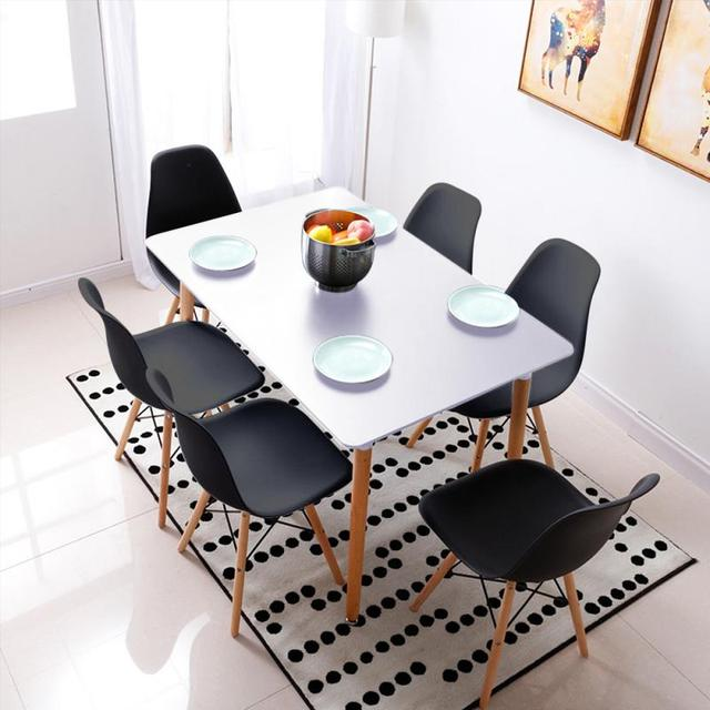 6Pcs Modern Leather Durable High Quality Lounge Chair Dining Chairs Living Cafe Room Dining Room Home Bar Nordic Style HWC