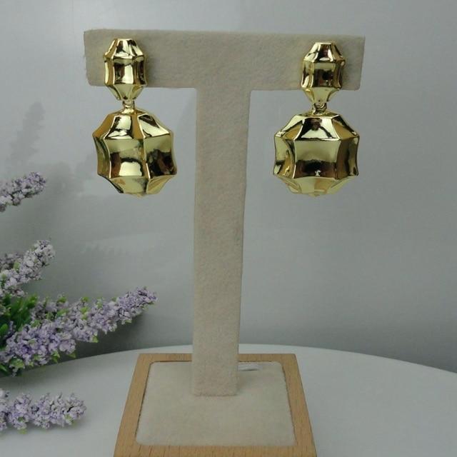 Yuminglai pendientes brasileños de oro de Dubái para mujer, 24K, FHK7977