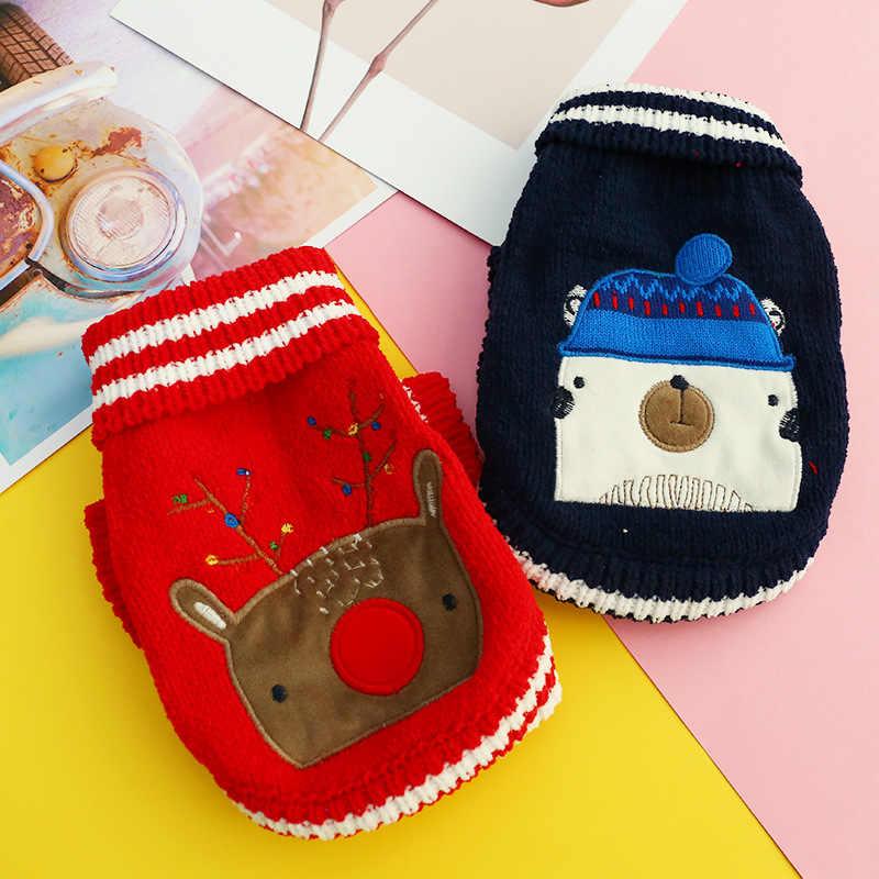 Xmas Reindeer Pet Hund Pullover Weihnachten Hunde Kleidung Für Französisch Bulldog Katze Neue Jahr Strickwaren XS S M L XL