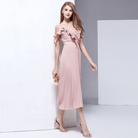 Girls Dresses Catwalk High Quality 2020 Spring Summer New Women'S Beach Party Vintage Sexy V Collar Elegant Pink Long Dress