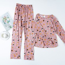 Pigiama da donna a maniche lunghe in cotone a maniche lunghe in cotone primavera/estate nuovo pigiama lungo da donna stile semplice