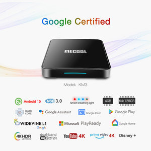 Image 2 - MECOOL KM3 ATV Androidtv Google Certified TV Box Android 10 4GB 64GB Android 9.0 KM9 PRO 4GB 32GB 2G 16G Amlogic S905X2 4K Wifi