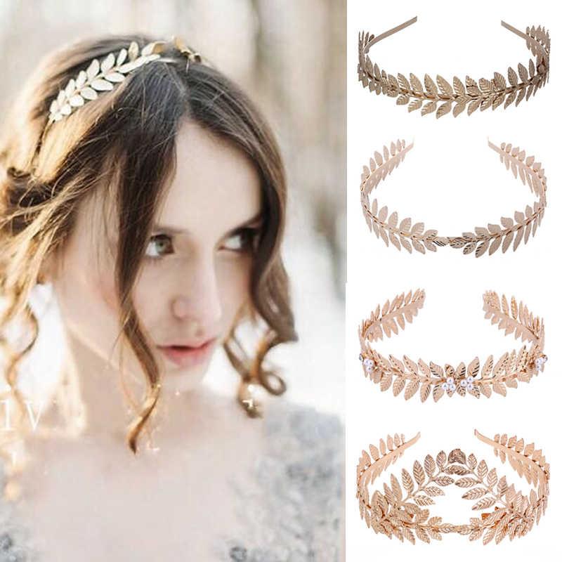Oro Metal hoja hueca coronas Tiara diseño Aro para el cabello boda accesorios para el cabello mujer frente nupcial diadema joyería