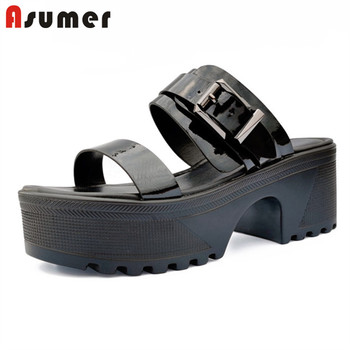 ASUMER 2020 new fashion platform sandals women shoes solid color buckle summer punk casual shoes ladies genuine leather sandals